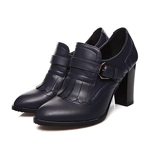 AllhqFashion Damen Blend-Materialien Fransig Schnalle Spitz Zehe Pumps Schuhe Blau
