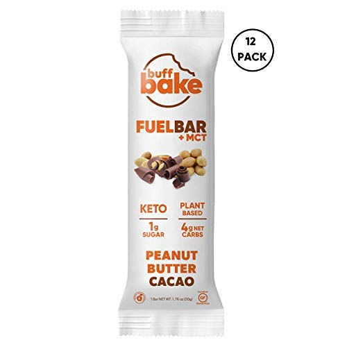 Buff Bake Keto Fuel Bar + MCT Oil - Ketogenic | Plant Based | Gluten Free | 12g of Protein | 1 Gram Sugar | 4 Gram Net Carbs | (12 Count, 50g) (Peanut Butter Cacao, 12 Count)