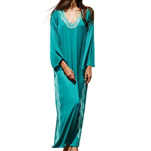 (MOOSLOVER Women's Floral Flowy Kimono Cover Up Cardigan Long Rayon Beach Dress(Green-2))