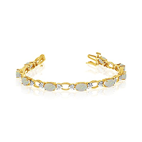 Diamond Open Link Tennis Bracelet (2.28 Carat (ctw) 14k Yellow Gold Oval Opal and Diamond Open Link Tennis Bracelet - 7