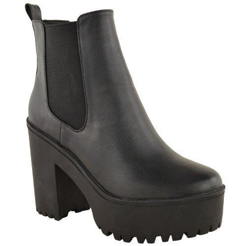 DE MUJER GRUESA CON TACOS SUELA PLATAFORMA TACÓN EN BLOQUE BOTINES   Amazon.es  Zapatos y complementos 422b675a5c563
