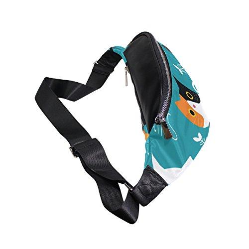 Waist Bags, Cute Cat Fish Blue White Black Shoulder Crossbod