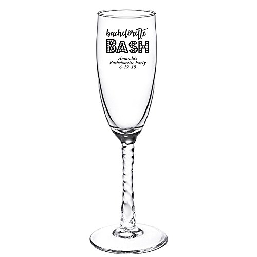 Personalized Color Printed Twisted Stem Champagne Flute - Bachelorette Bash - Black - 48 pack (Twisted Stem Flute)