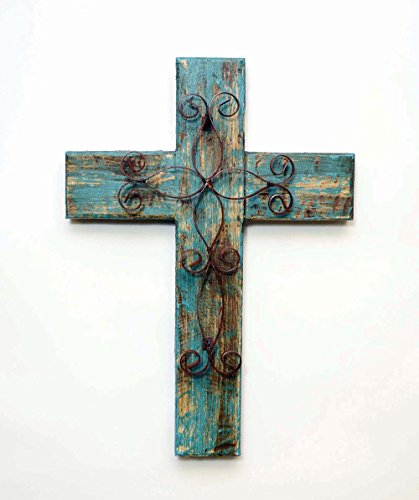 Rustic Reclaimed Wood Wall Cross w/ Metal Cross in Front-19.5 Inches Tall by 14.5 Inches Wide. Rustic Green Color. (Rustic Cross Metal)