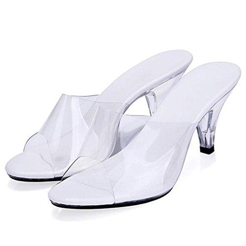 Lavoro Donna Bianco All'aperto Indossano Che Di Da Trasparente Scarpe Cristallo Sandali Posto Pantofole Centimetri Sala Da Tacchi Alti Ballo In 7 Rx6OzEwq