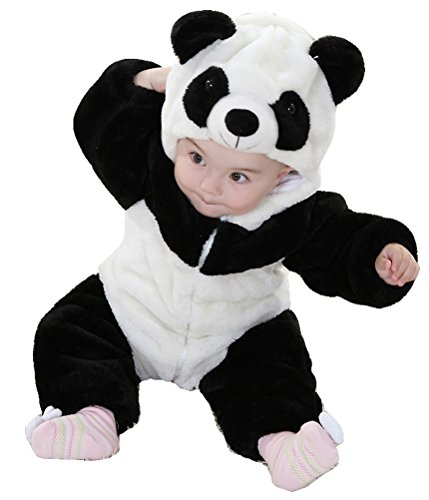 White Snow Baby Costume Bunting (Unisex-baby Infant Winter Flannel Romper Panda Outfits Snowsuit Bunting (0-6 Months,)