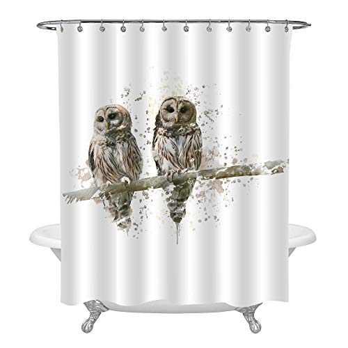 MitoVilla Realistic Owl Shower Decorations, Watercolor Splash Winter Countryside Scenery Painting, Barred Owls Stood on The Tree Branch Shower Curtain, White and Gray Color, Standard Size 72 x 72 (Shower Curtain Owl)