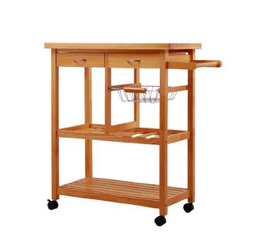 Amazon.com   Tenive Pine Wood Dining Trolley Rolling Kitchen Trolley Cart  Kitchen Utility Cart Kitchen Island With Win Rank/Basket/Drawer   Kitchen  Islands ...