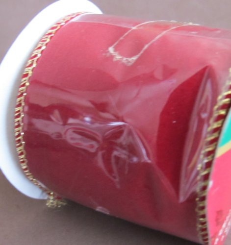 santas-trim-shoppe-wired-edges-velveteen-ribbon-2-1-2-wide-x-9-feet-long-dark-red-w-gold-tone-edges