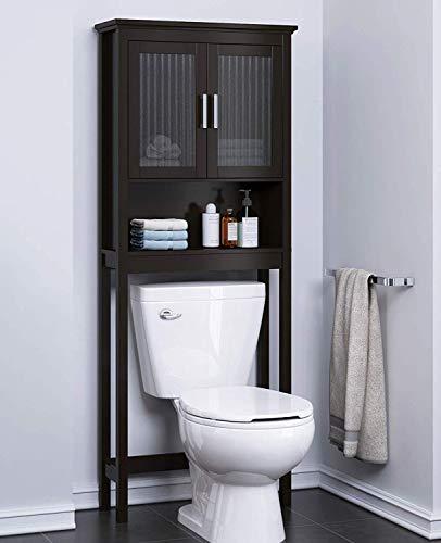 Spirich Home Bathroom Shelf Over The Toilet, Bathroom Cabinet Organizer with Moru Tempered Glass Door (Espresso)