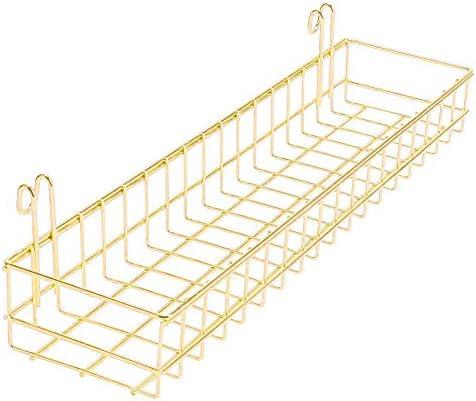Cesta de rejilla de pared, Organizador de alambre de metal multiusos y accesorio de almacenamiento, titular de la planta de terraza y balcón, Estante de la maceta (Oro, Grande-D 40x10x5cm)