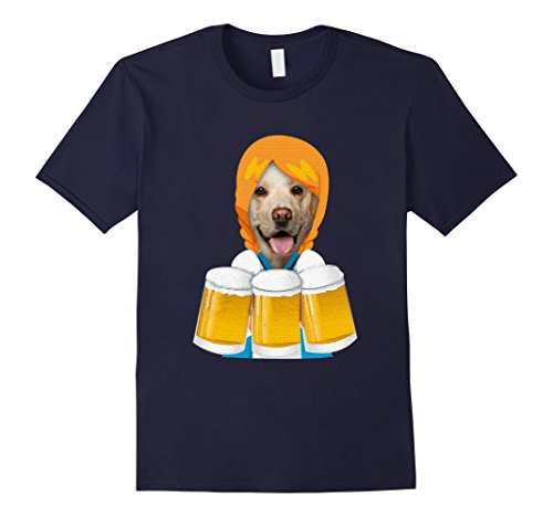 Dirndl Costume For Dogs (Mens Funny Oktoberfest German Dirndl Costume Lab Dog T-Shirt XL Navy)