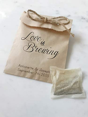 (25 Pack - Wedding Favor Bags! - Love is Brewing Coffee Beans or Tea Bags & Honey- Favor Bags - Custom Printed on Kraft Brown Paper Bags )
