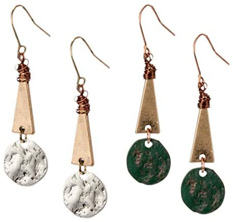 Boho Earrings Tribal Earrings Unique Jewelry Gifts For Her Long Earrings Circle Dangles Gifts Under 50 Chunky Jewelry Copper Jewelry