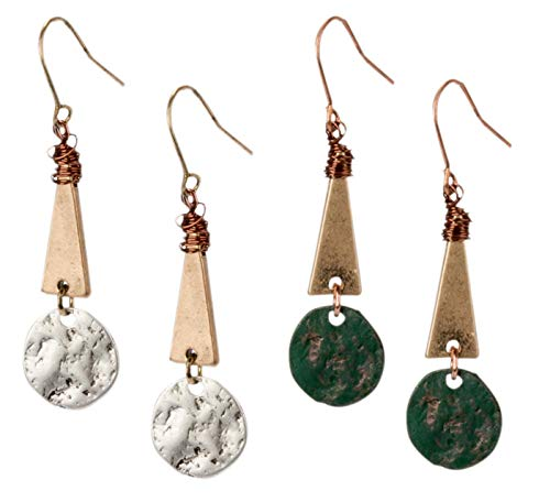 Tribal Gold, Silver, Patina and Copper Wire Mixed Metal Boho Chic Ethnic Vintage Disc Triangle Circle Fishhook Dangle Earrings for Women and Girls Gift Jewelry Bohemian (Disc triangle 2 Pack)