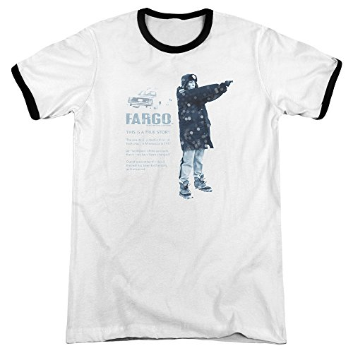 Fargo This Is A True Story Mens Adult Heather Ringer Shirt White/Black - Fargo Macy