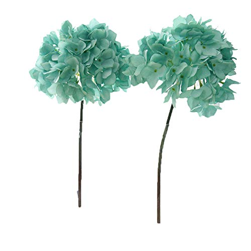 Crt Gucy 2 Pcs Artificial Hydrangea Flowers for Wedding Room Home Hotel Party Decoration and (Tiffany Blue)