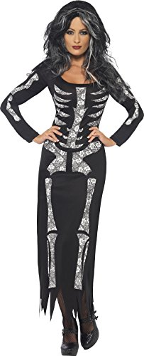 Smiffy's Women's Skeleton Costume Tube Dress with Long Sleeves, Black/White, 1X (Skeleton Costumes)