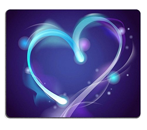 Abstract Luminous Neon Blue Purple Heart Mouse Pads Customized Made to Order Support Ready 9 7/8 Inch (250mm) X 7 7/8 Inch (200mm) X 1/16 Inch (2mm) High Quality Eco Friendly Cloth with Neoprene Rubber Liil Mouse Pad Desktop Mousepad Laptop Mousepads Comfortable Computer Mouse Mat Cute Gaming Mouse_pad - Neon Blue Mouse Pad