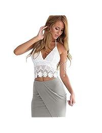 Welcomeuni Women Lace Crochet Halter Vest Crop Summer Beach Tops Blouse Tank