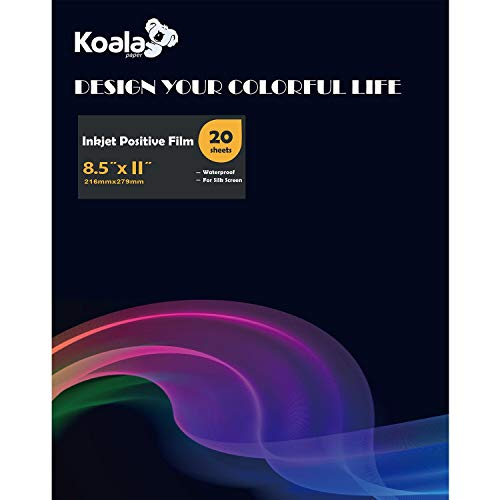 Koala Inkjet Transparency Positive Film 8.5x11 Inches 20 Sheets Waterproof for Screen Printing