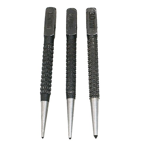HBK 3pcs High-Carbon Steel Center Punch Set 10.1cm Non Slip Center Punch for Alloy Steel Metal Wood Marking Drilling Tool