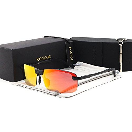 Ronsou Men UV400 Rimless Aluminium-Magnesium Polarized Sunglasses Mirrored For Driving Fishing Golf Outdoor black frame/red - Aluminium Sunglasses