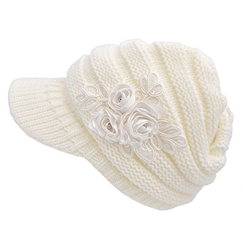 Women's Cable Knit Newsboy Visor Cap Hat with Sequined Flower