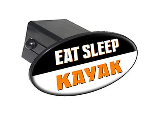 "Eat Sleep Kayak - 2"" Tow Trailer Hitch Cover Plug Insert"