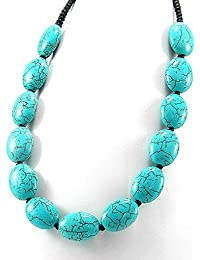 "Luxury Bib Bauble Necklace 20-21"" Turquoise Ovals 28-513-141"