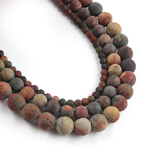 Yochus 6mm Dull Polish Matte Picasso Round Loose Beads Natural Stone Beads for Jewelry Making