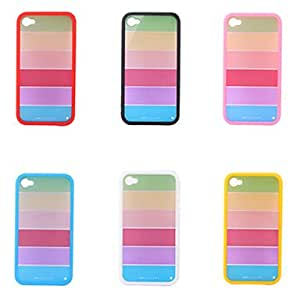 ZXSPACE Rainbow Frame Case for iPhone 4 / 4S (Multi Color Available) , Black