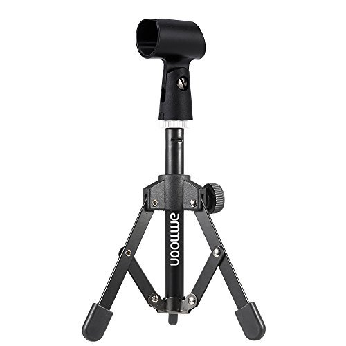 MS-12 Mini Foldable Adjustable Desktop Microphone Stand Tripod with MC5 Mic Clip Holder Bracket for Meeting Lectures Podcasts