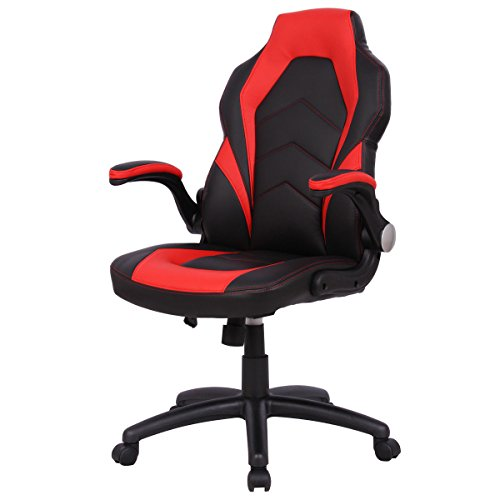 Office Chair Race Car Style Ergonomic Bucket Seat Gaming Desk Task PU Red  Arama Ix