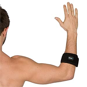 MYOTEK Tennis Elbow Support Brace with Neoprene Compression Pad - Pain Relief for Tendonitis, Tennis and Golfers Elbow - Instructional eGuide - One Size Fits Most