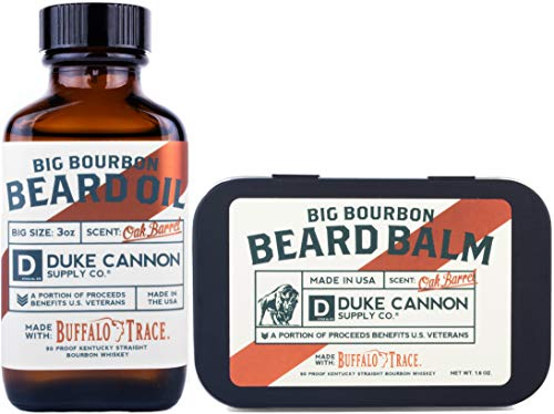 Duke Cannon Big Bourbon Beard Bundle Set: Best Beard Oil, 3oz and Beard Balm, 1.6oz / Made with Natural and Organic Ingredients