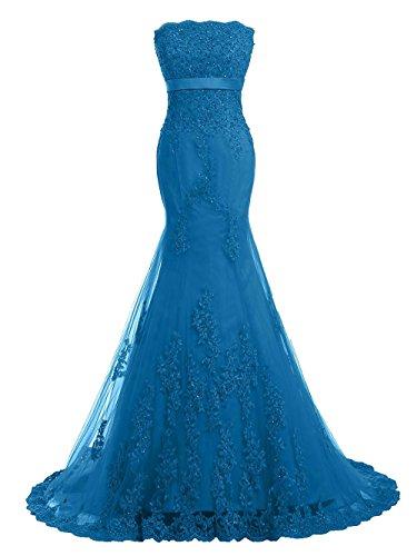 JAEDEN Mujer Sin tirantes Encaje Vestidos de baile Largo Vestido de fiesta Compromiso vestido Azul