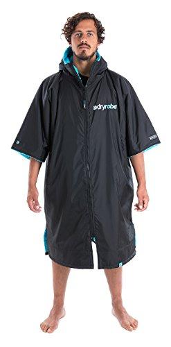 (Dryrobe Advance Adult Swim Parka - Short Sleeve Change Poncho Large Black/Blue)