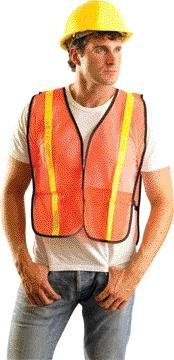 OccuNomix 4X Orange OccuLux(R) Lightweight Polyester And Mesh Non-ANSI Economy Vest With Front Hook And Loop Closure, 1 Glossy Tape Striping, Side Elastic Straps And 1 Pocket by Occunomix ()
