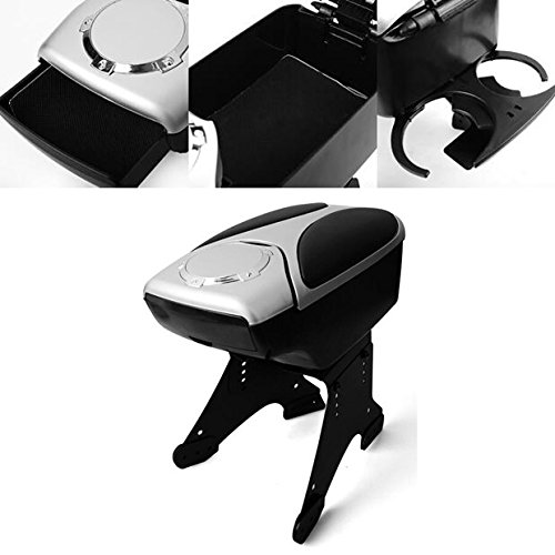Black Silver Front Center Console Armrest Storage Box w/Cup Holder Universal Fit