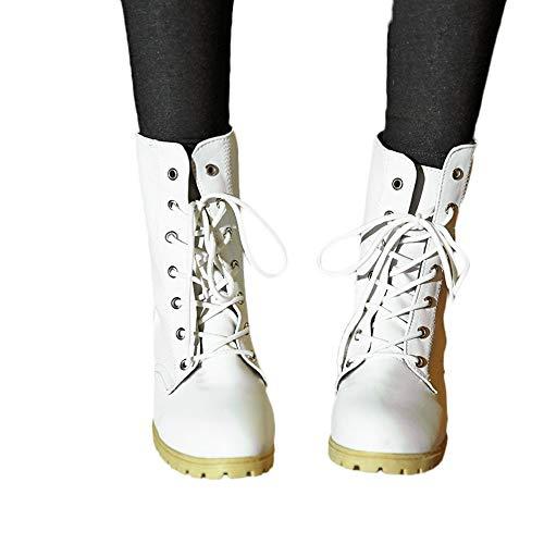 Agencia Mujeres Solido Invierno Med Montar Las Patucos De De Calenti Zapatos De El Casual Tobillo Blanco De Color Botas ALIKEEY 8v0qI1Aq