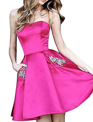 (99dress Women's Short Beading Homecoming Dresses 2019 Strapless Popular Prom Gowns)