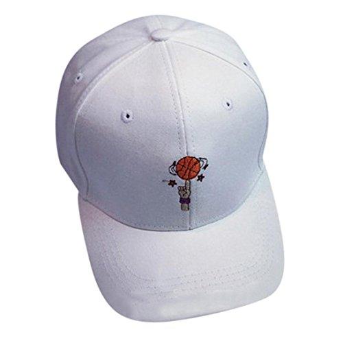 Saingace Baseball Cap,Stickerei-Baumwollbaseballmütze -Jungen-Mädchen-Hysteresen Hip Hop Flat Hat (Weiß)
