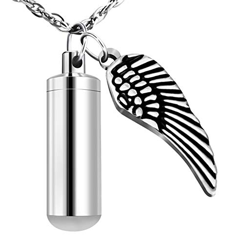 XIUDA Cremation Jewelry Urn Necklace for Ashes with Angel Wing