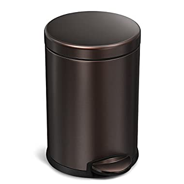 simplehuman Mini Round Step Trash Can, Dark Bronze Stainless Steel, 4.5 L / 1.2 Gal