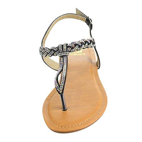 Flat Rhinestone Sandals Womens Black BETANI FI31 Sling Thong Back qYIZzxwHx