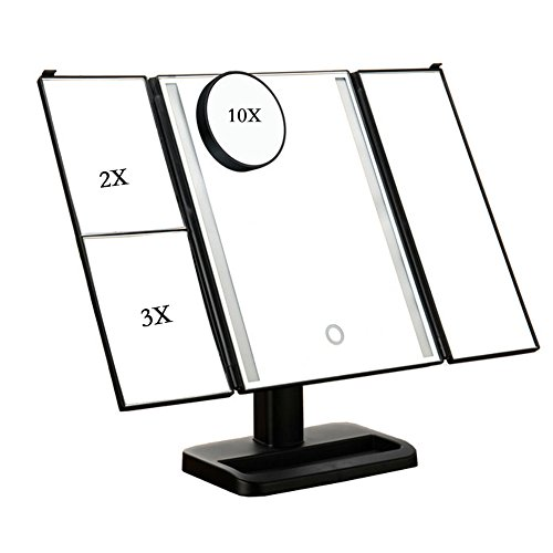 Seakyland Lighted Makeup Vanity Mirror with 10X/3X/2X/1X Magnifying Soft Natural LED Lighting -