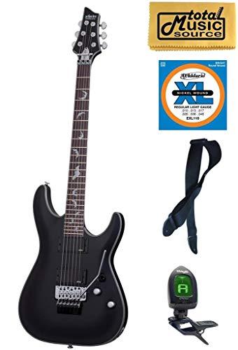 Schecter Damien Platinum 6 Floyd Rose Electric Guitar, Satin Black, 1183, Bundle, 1183 PACK