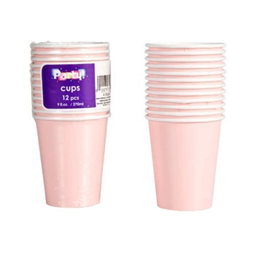 Party Supplies - Light Pink Paper Party Cups, 9 oz., 12-ct. Packs (Set of 2)