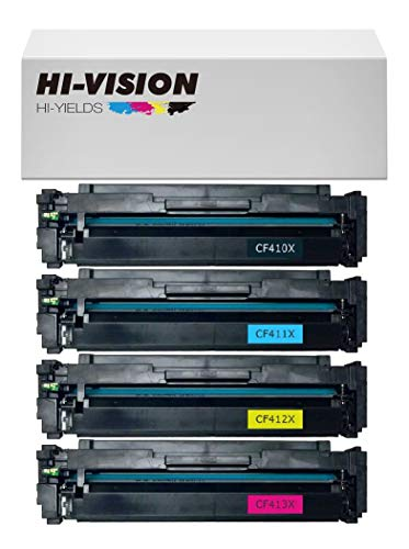 - HI-VISION HI-YIELDS Compatible Toner Cartridge CF410X CF411X CF412X CF413X High Yield [HP410X] for Color Laserjet Pro M452nw M452dw MFP M477fnw MFP M477fnw M452dn MFP M477fdn (4-Pack)